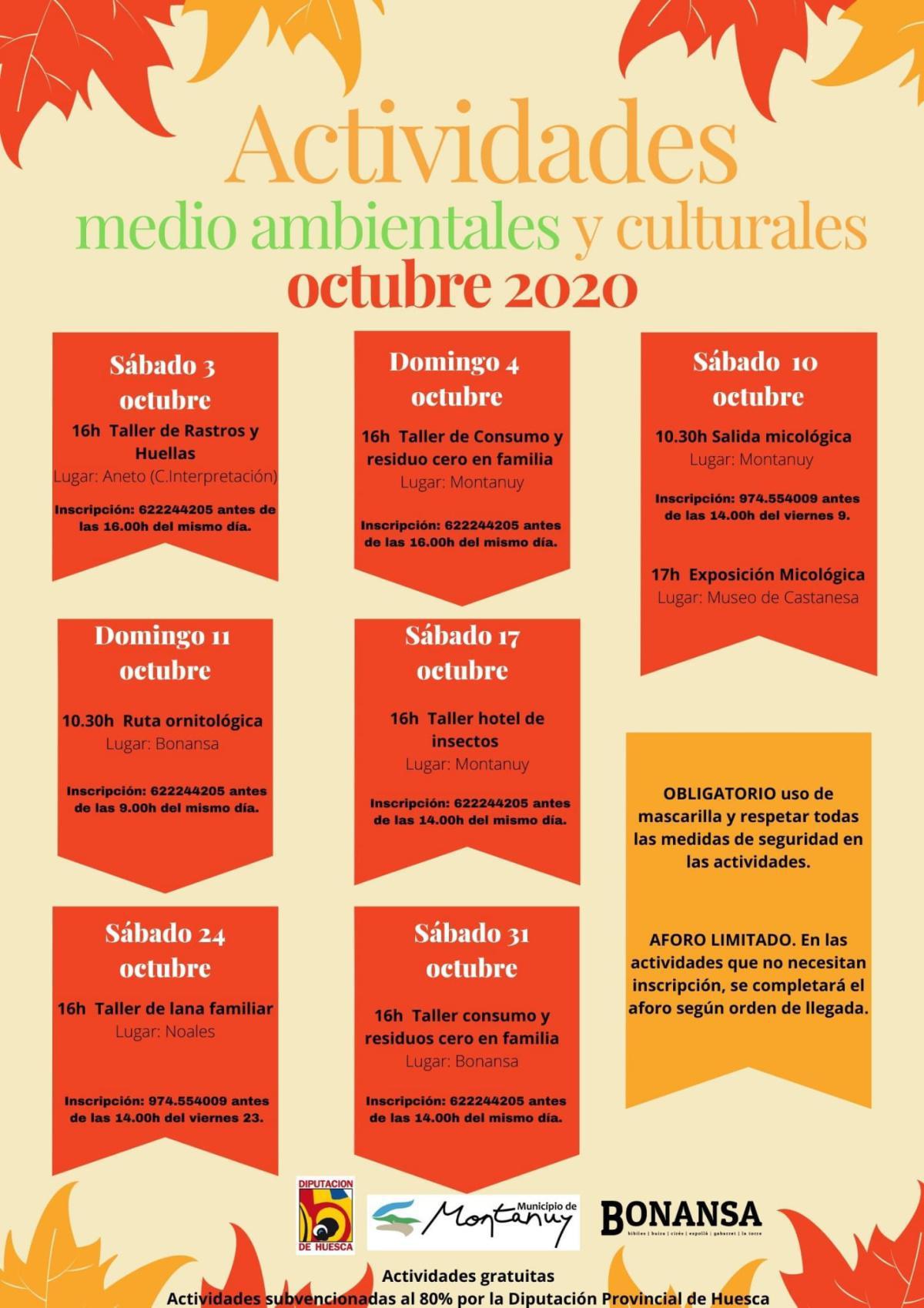 Actividades Medioambientales y Culturales en Montanuy, Bonansa, Castanesa (Huesca)