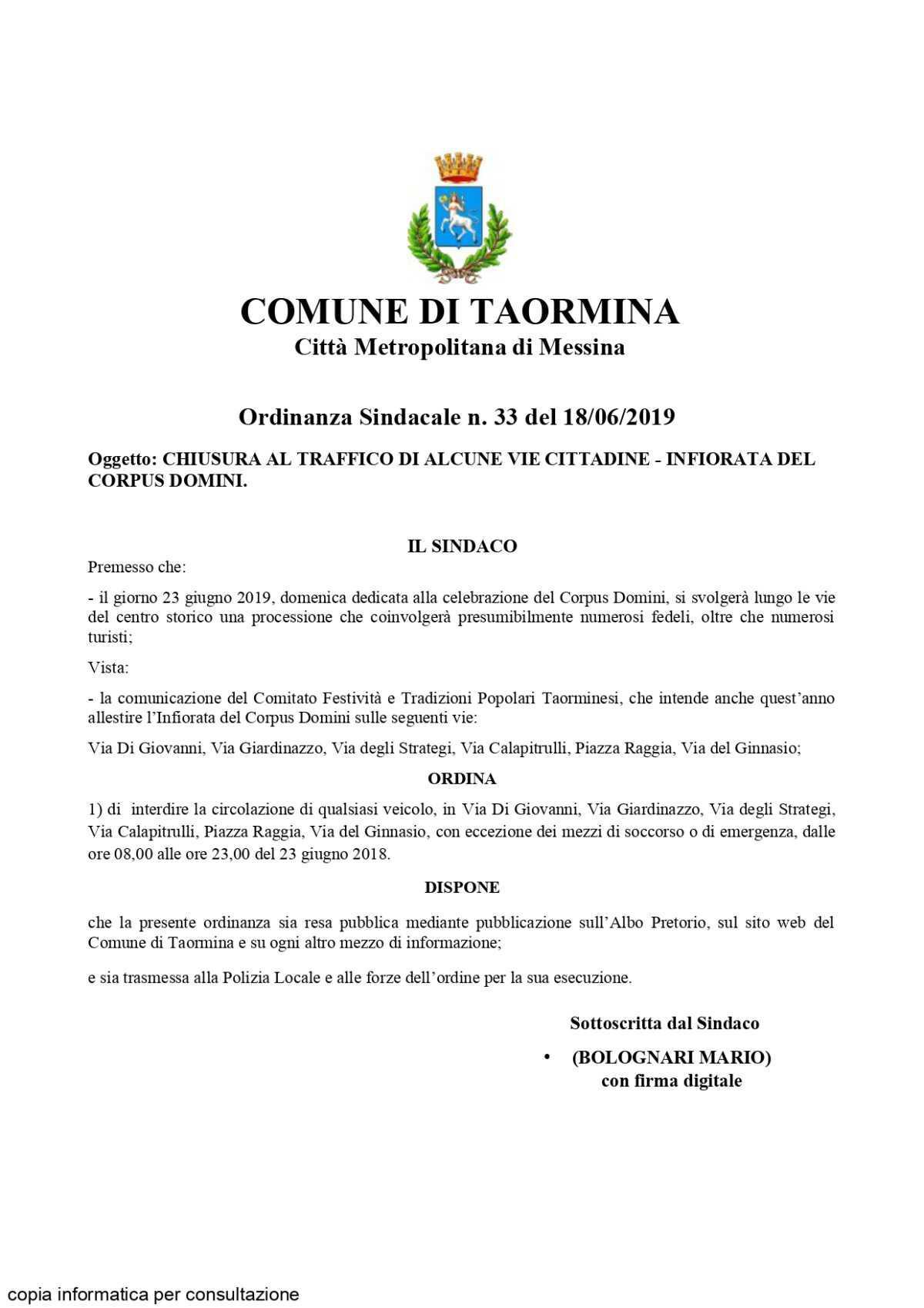 Celebrazione del Corpus Domini - 23 giugno 2019
