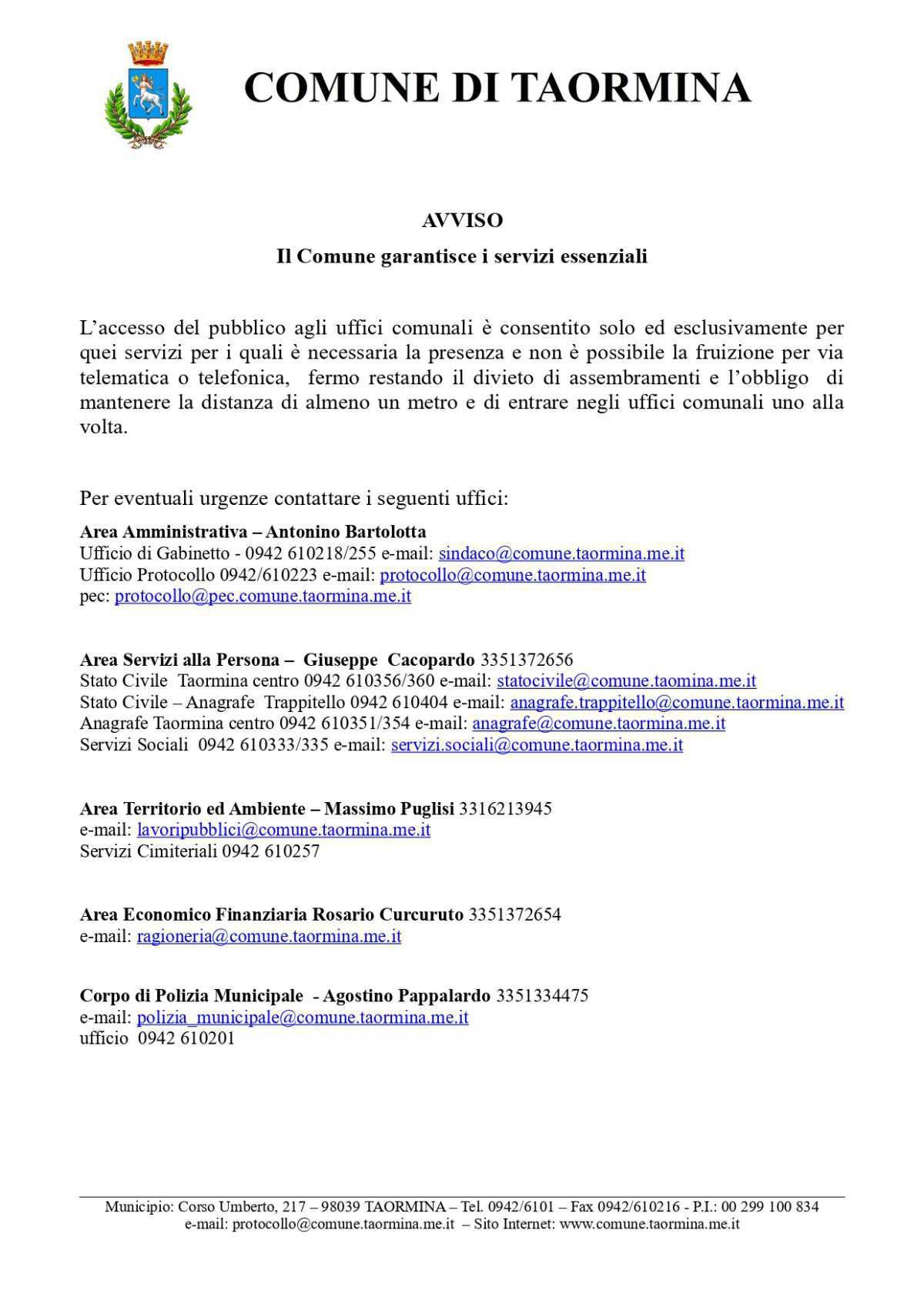 AVVISO - Il Comune garantisce i servizi essenziali
