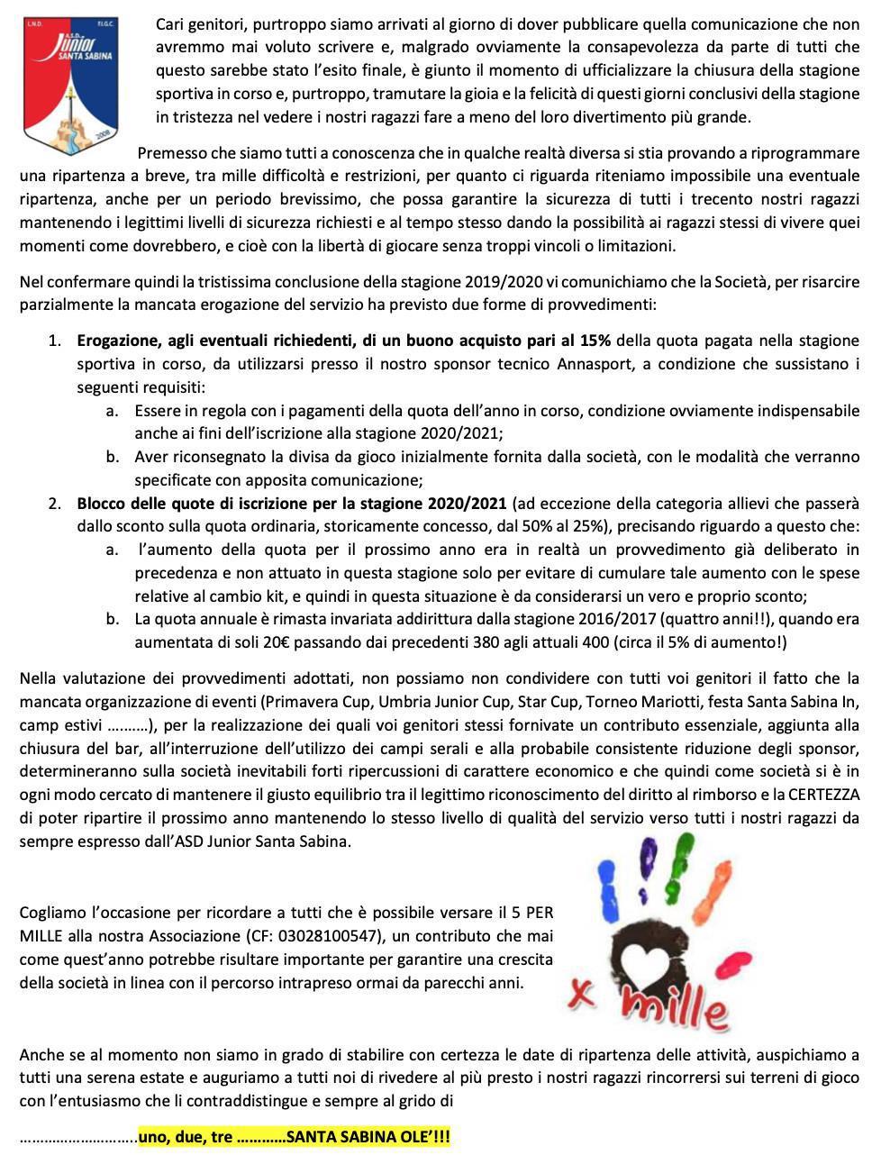Lettera Fine Anno Sportivo 2019/20