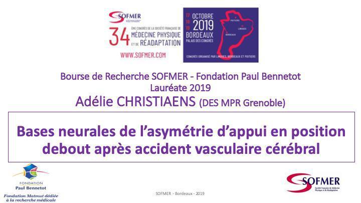 Bourse de Recherche SOFMER - Lauréate 2019 - Adélie CHRISTIAENS