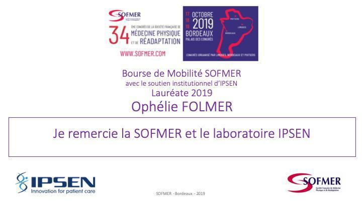 Bourse de Mobilité SOFMER - Lauréate 2019 - Ophélie FOLMER