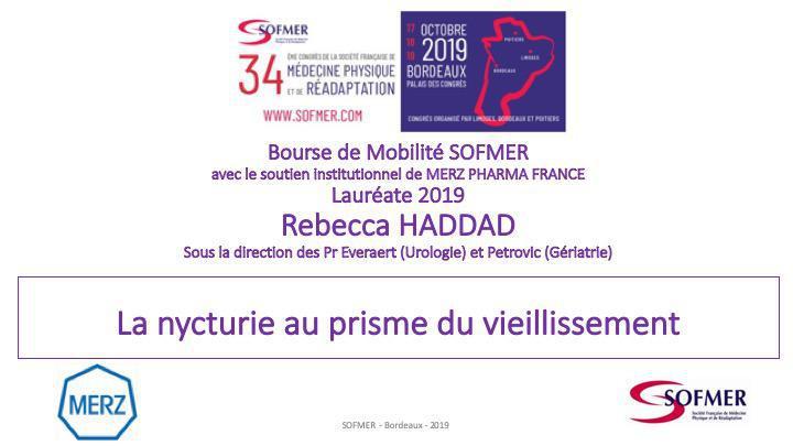 Bourse de Mobilité SOFMER - Lauréate 2019 - Rebecca HADDAD