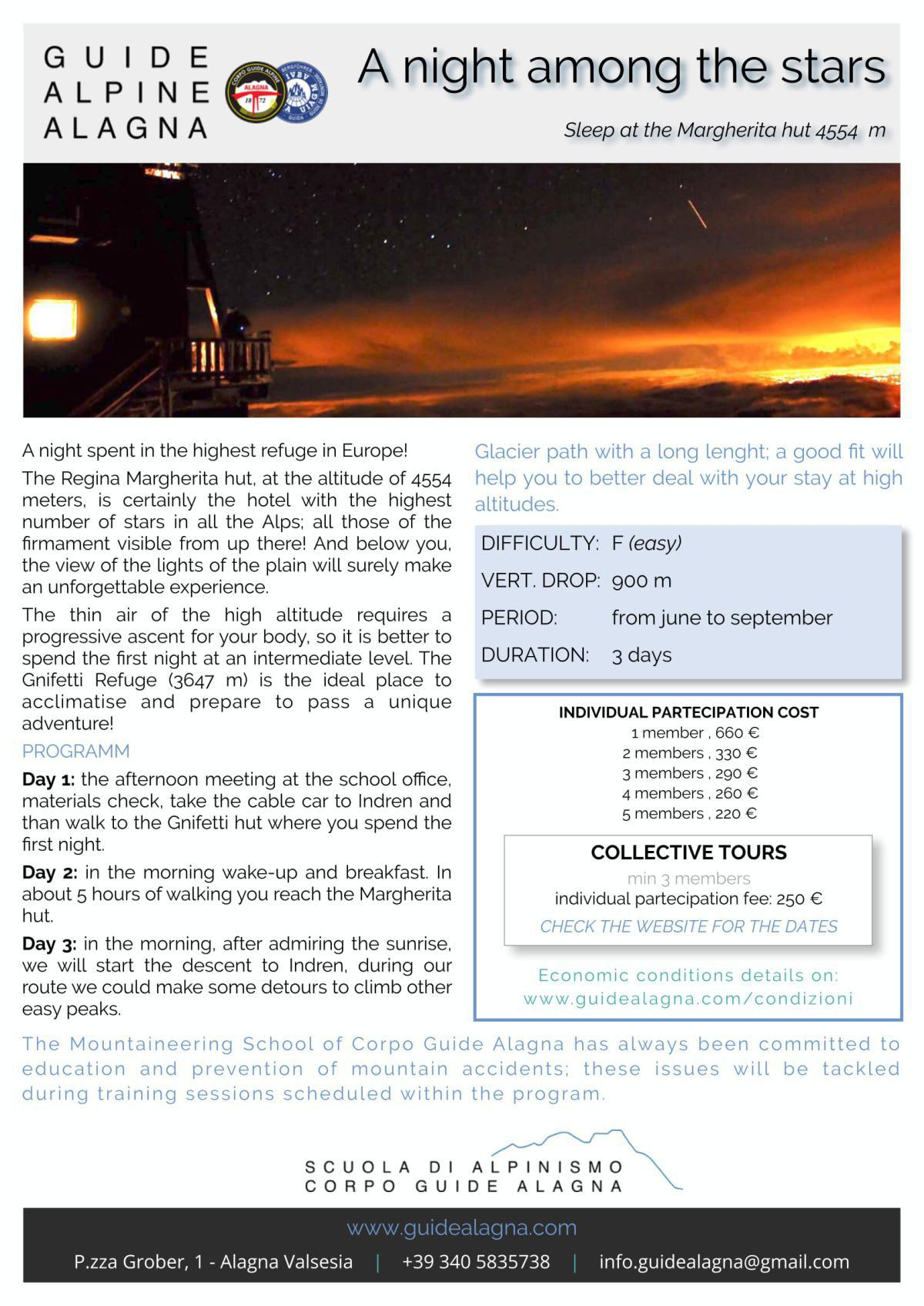 Notte tra le stelle - Guide Alpine Alagna