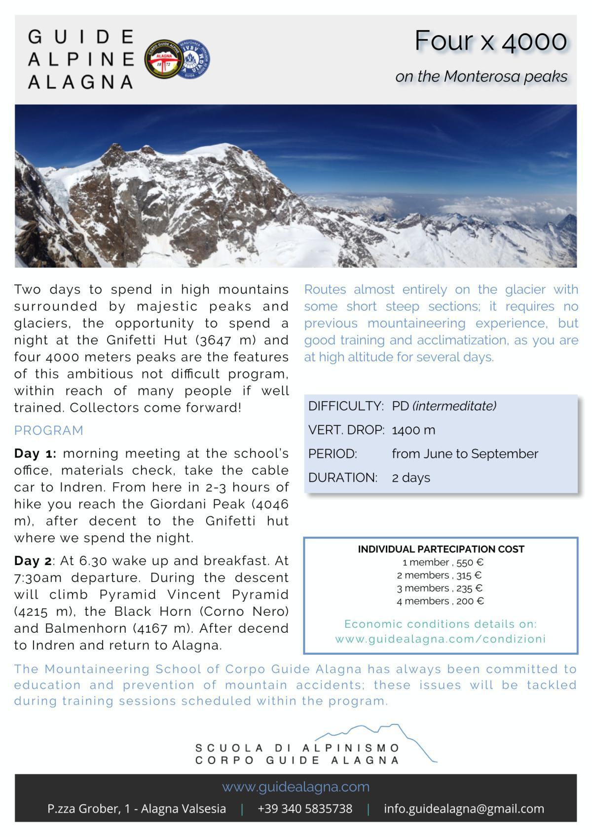 Quattro x 4000 - Guide Alpine Alagna