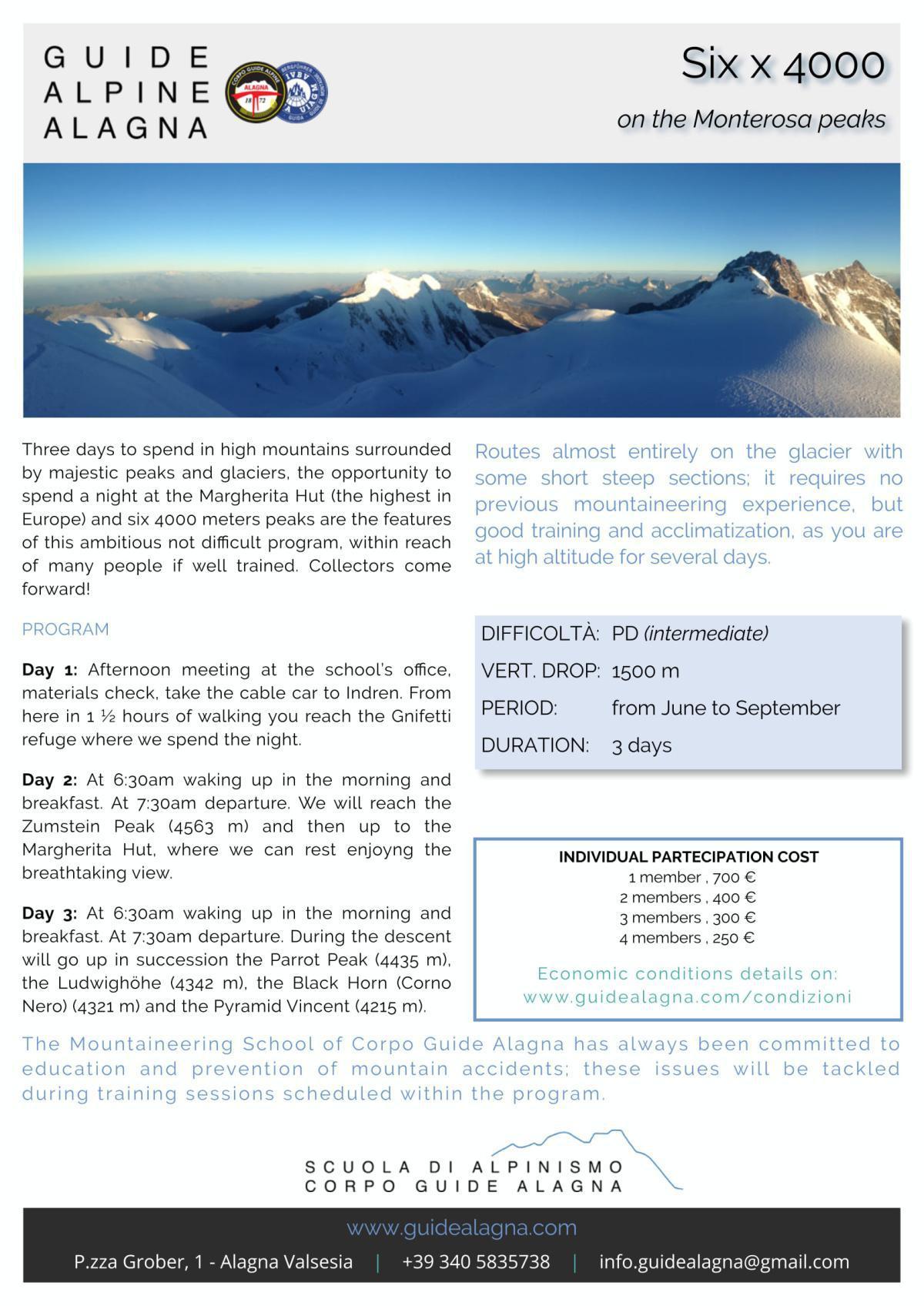 Sei x 4000 - Guide Alpine Alagna