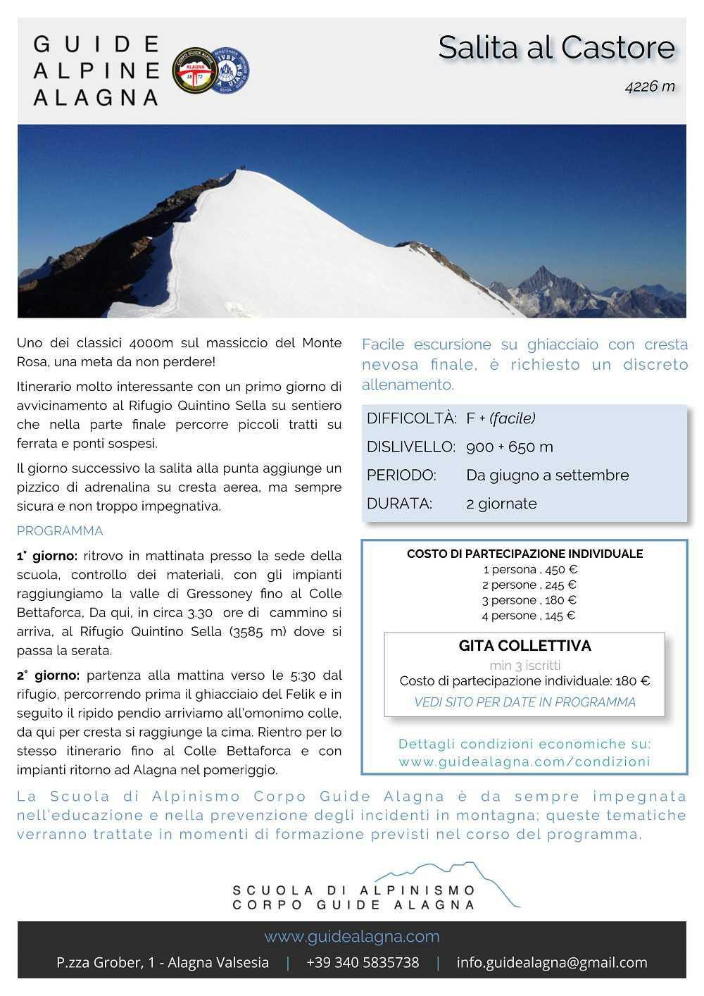 Salita al Castore - Guide Alpine Alagna