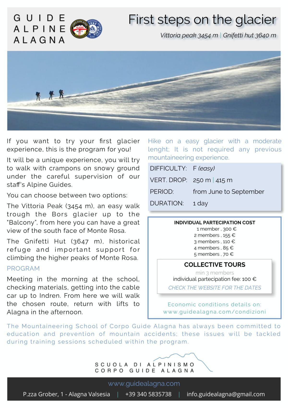 Primi passi sul ghiacciaio - Guide Alpine Alagna