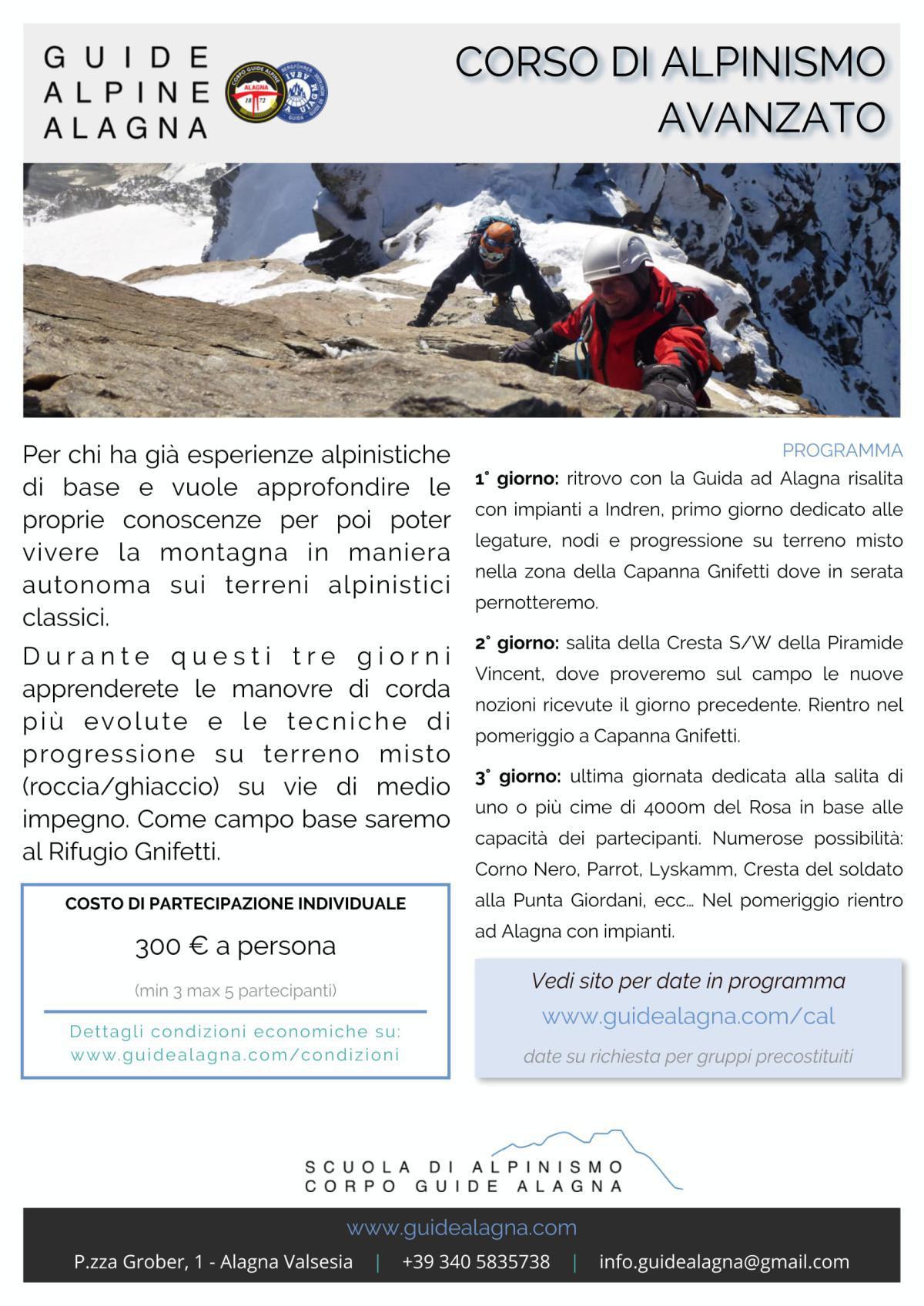 Corso di Alpinismo Avanzato - Guide Alpine Alagna