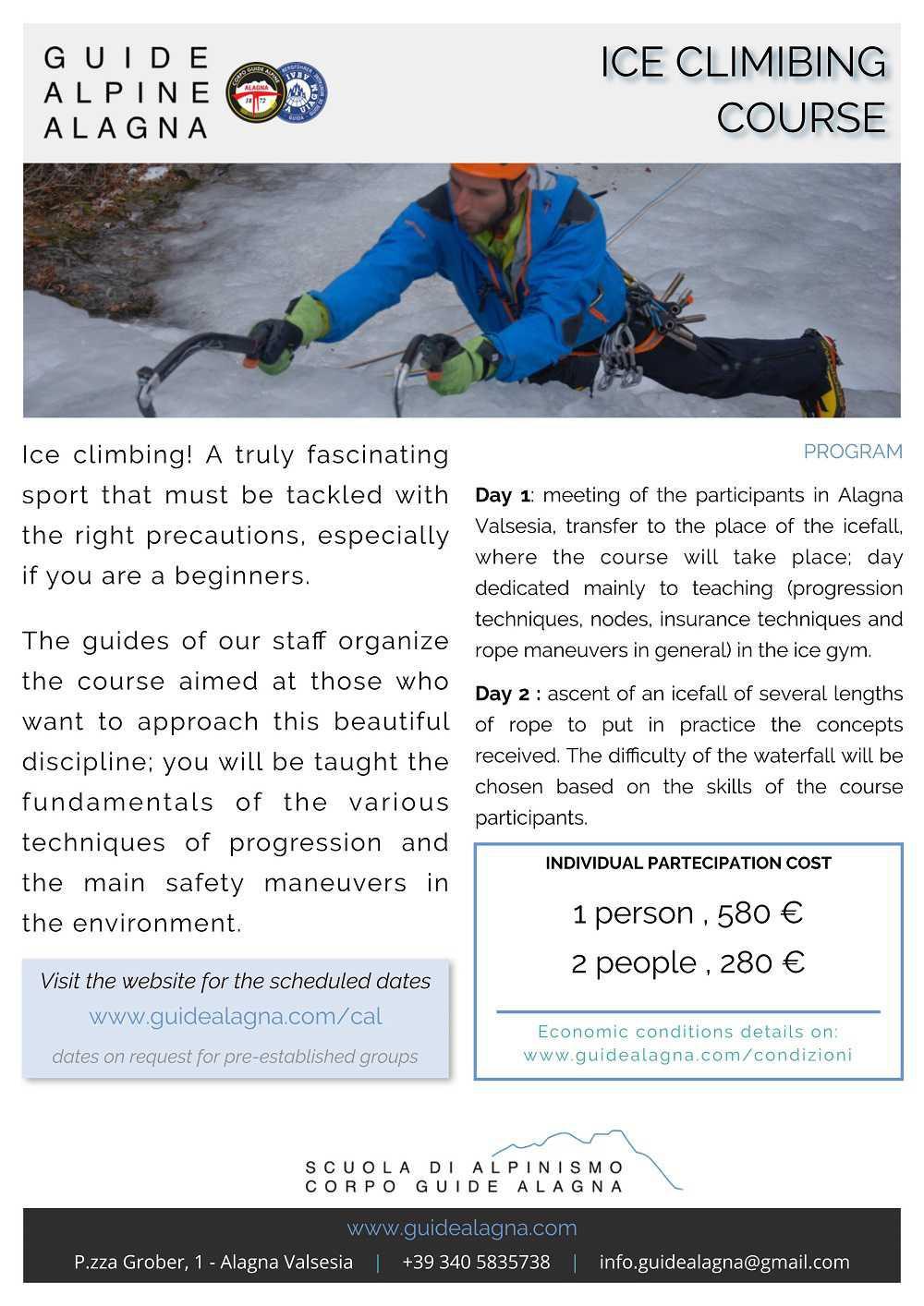 Corso Cascate di Giaccio - Guide Alpine Alagna