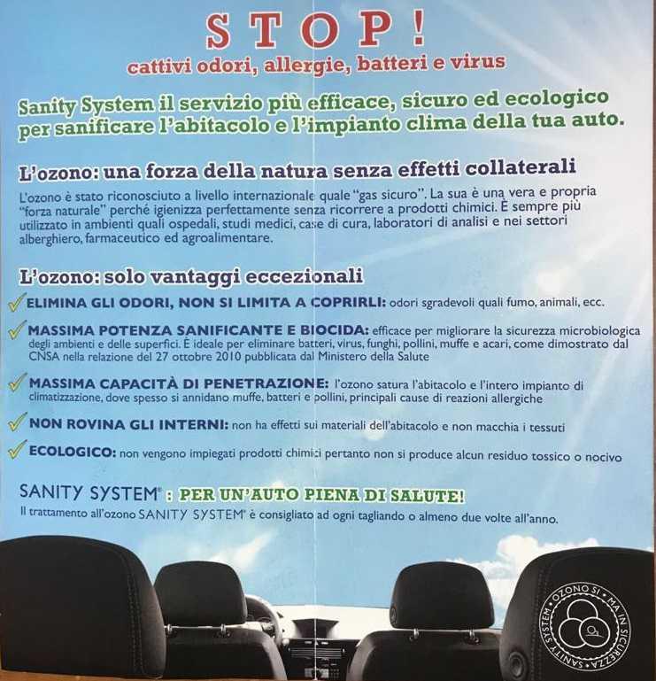 Sanificazione veicoli e piccoli locali - Alagna