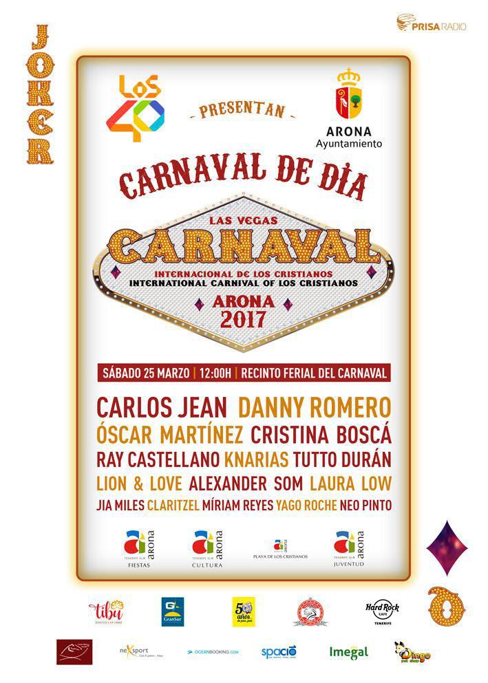 Carlos Jean y Danny Romero, cabezas de cartel del Carnaval de Día de Los Cristianos