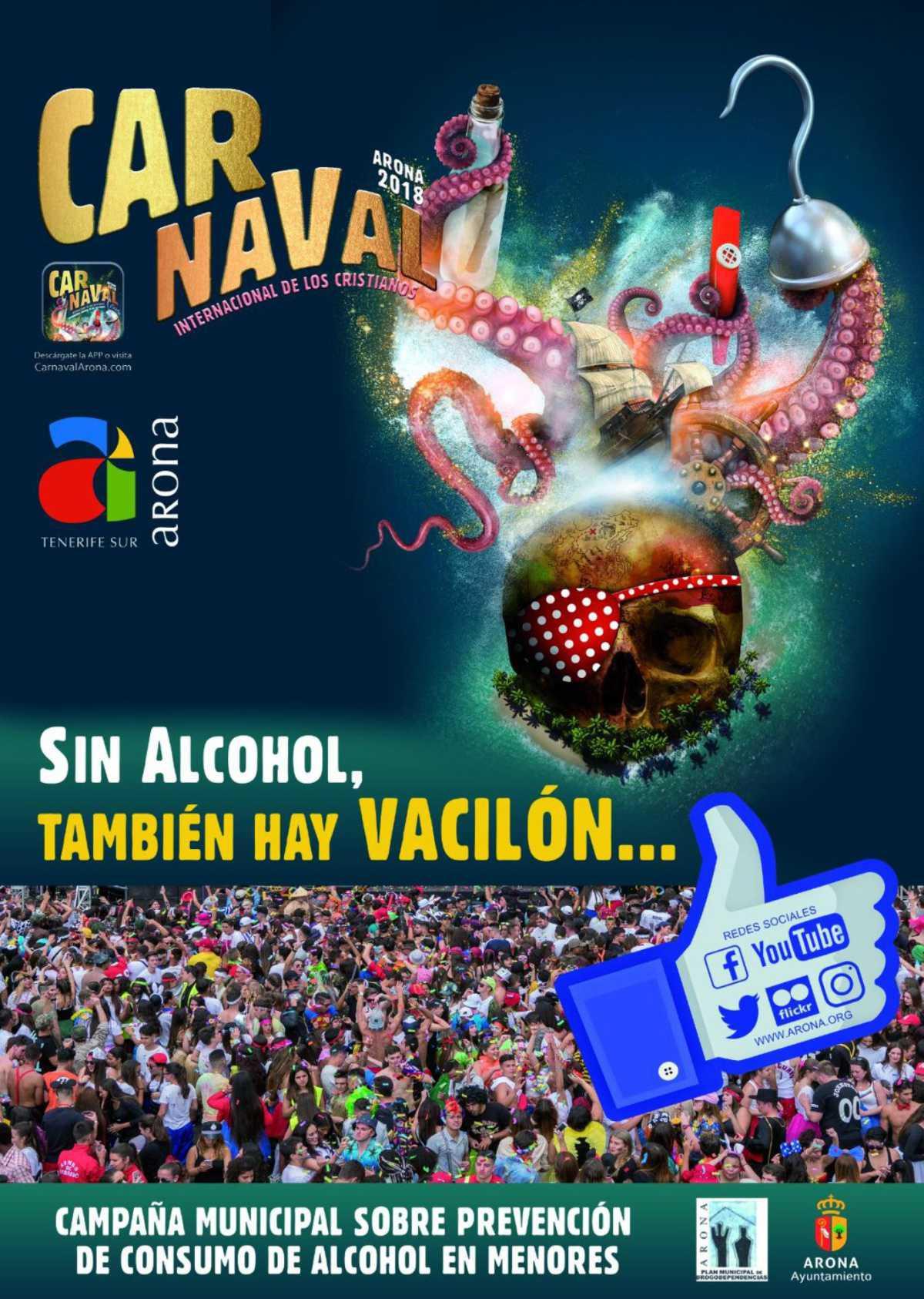 Arona pone en marcha una campaña de prevención del consumo de alcohol entre menores para el Carnaval