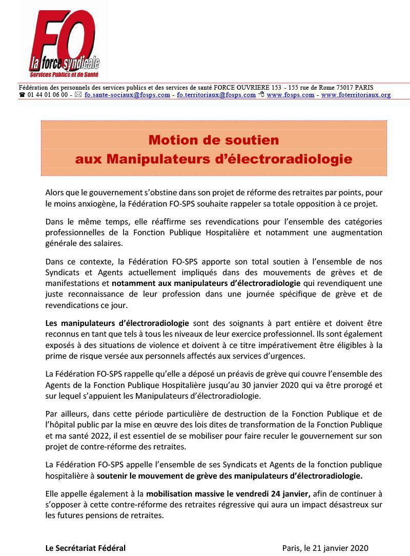 Motion de soutien aux Manipulateurs radio