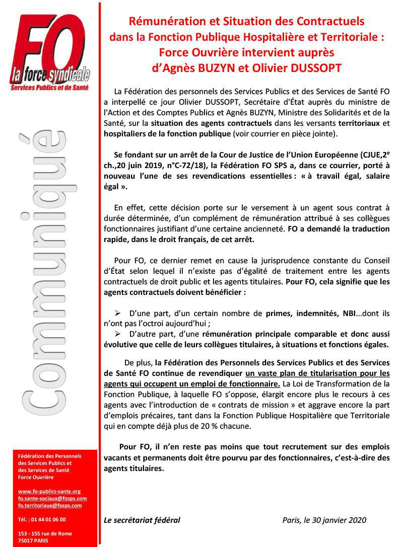 Intervention FO contractuels FPH et FPT