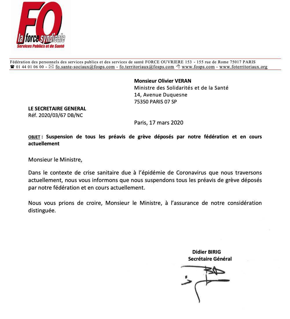 Suspension des préavis de grève de la Fédération FO SPS