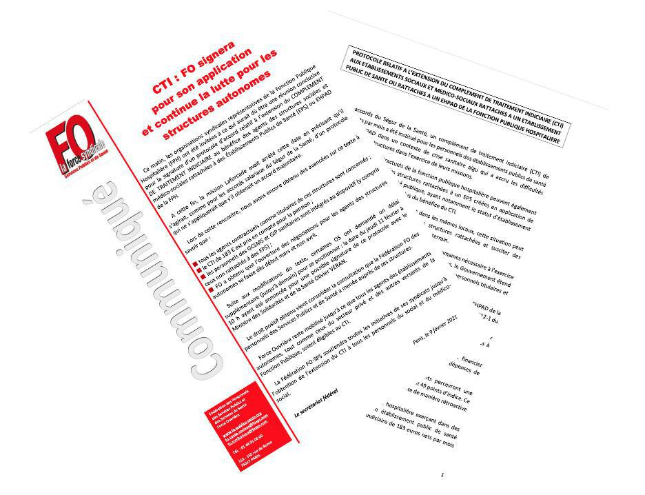 Extension du CTI : FO signera pour son application et continue la lutte pour les structures autonomes