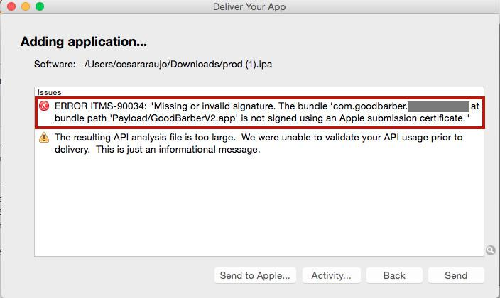 iOS - Mensagens de erro do Application Loader - Base de Conhecimento