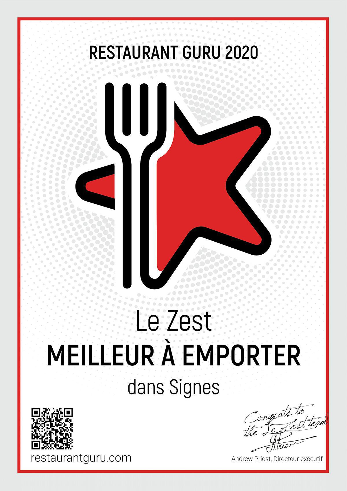 Restaurant GURU 2020 Le Z'Est N°1 !