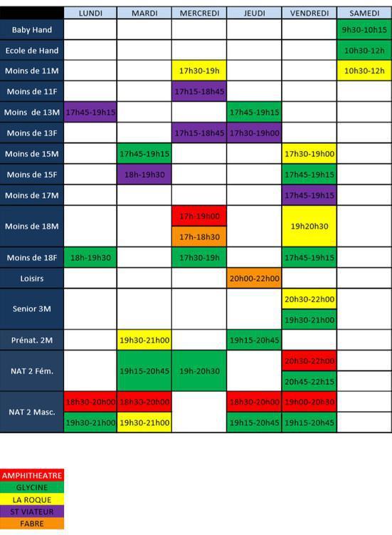 Créneaux d'entrainement SAISON 2018-2019 🤾♂️🤾♀️