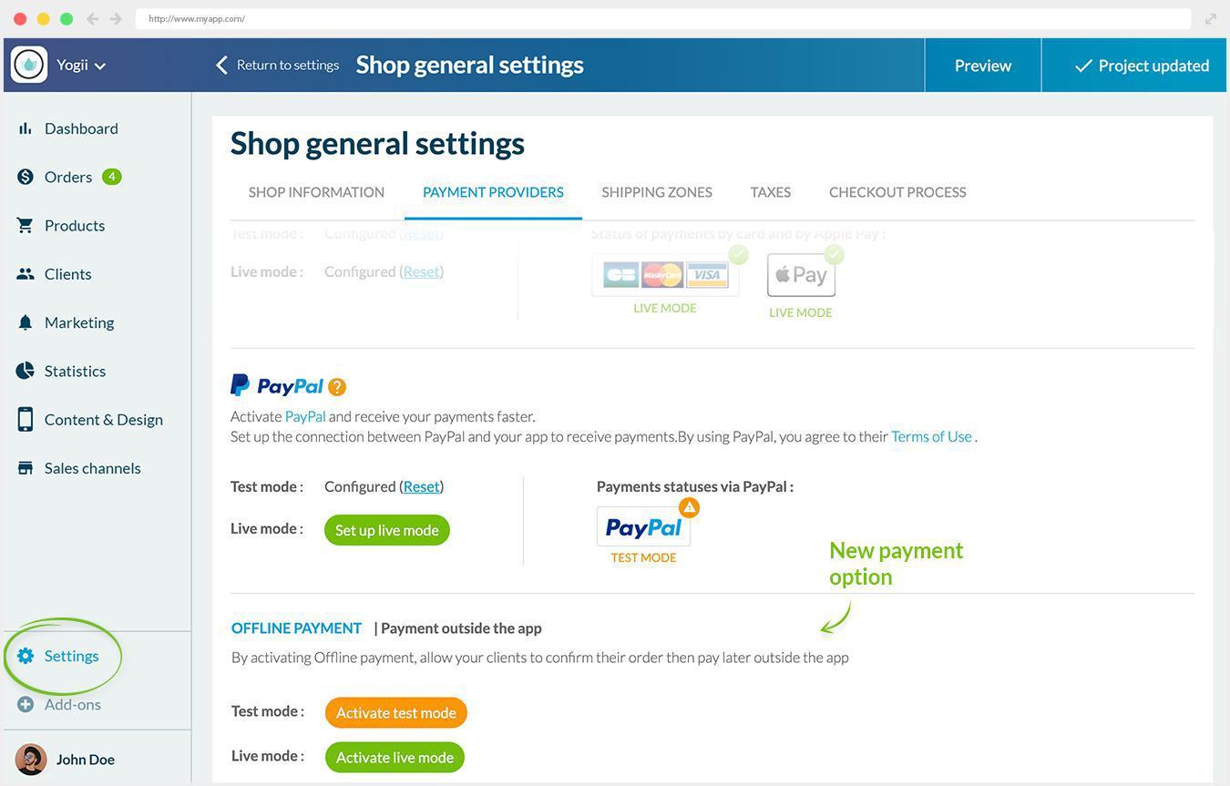 Um novo método de pagamento para o seu Shopping App: Pagamento offline