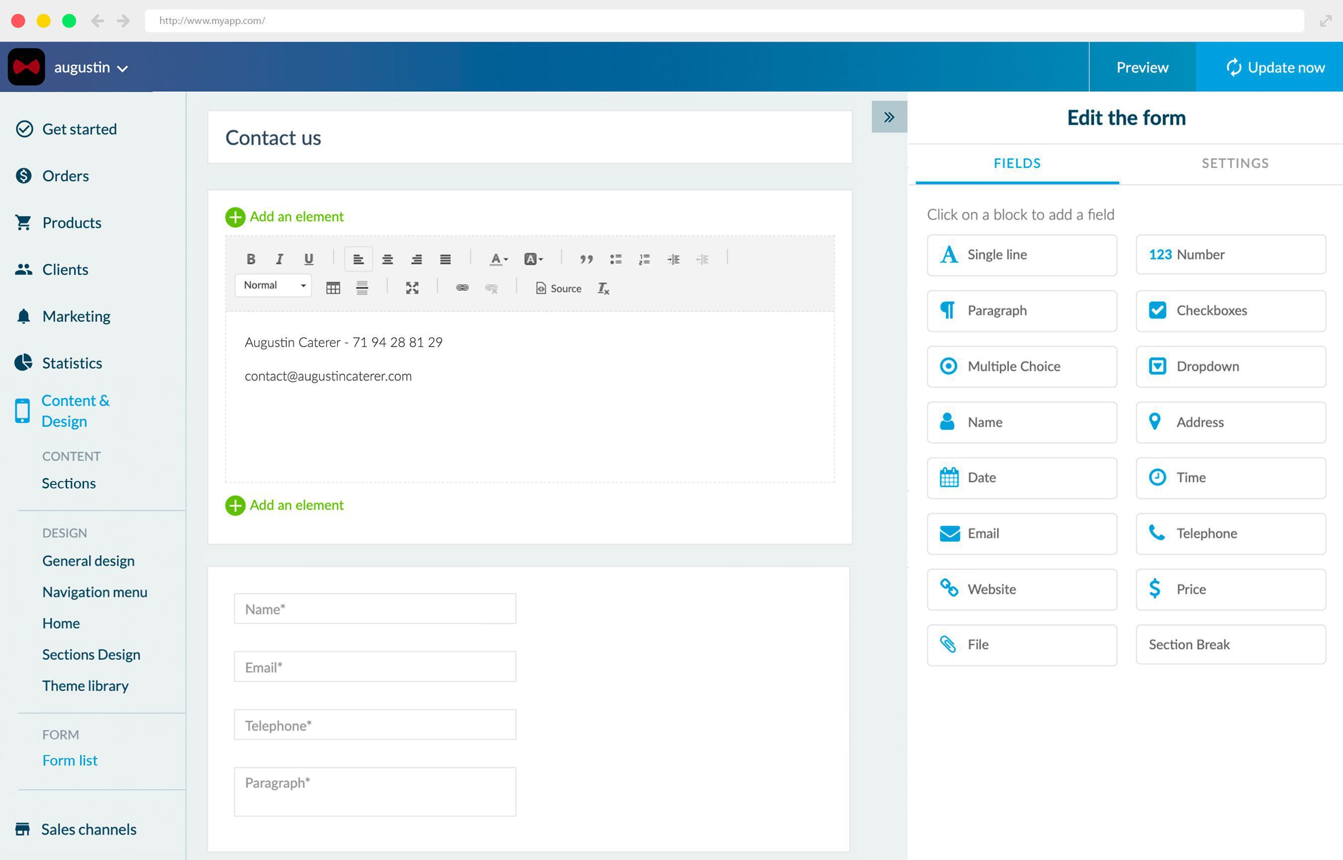 Agora você pode adicionar um Formulário ao seu Aplicativo de Compras