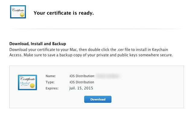 Que tipo de certificados iOS eu preciso para construir e publicar a minha app?