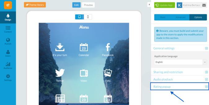 Adiciona os pop-ups de opinião à tua Beautiful App