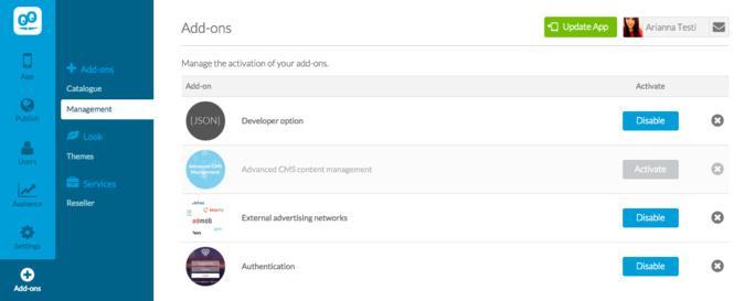 Nova Loja Goodbarber para adicionares Add-Ons na tua App