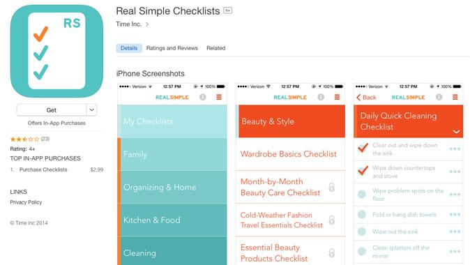 Real Simple Checklists