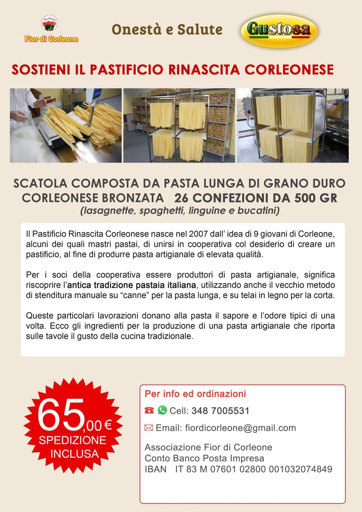 13 Kg di pasta lunga Pastificio Rinascita Corleonese