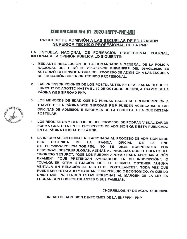 Proceso de Admisión a la 🚨Escuela de Suboficiales de la PNP🚨