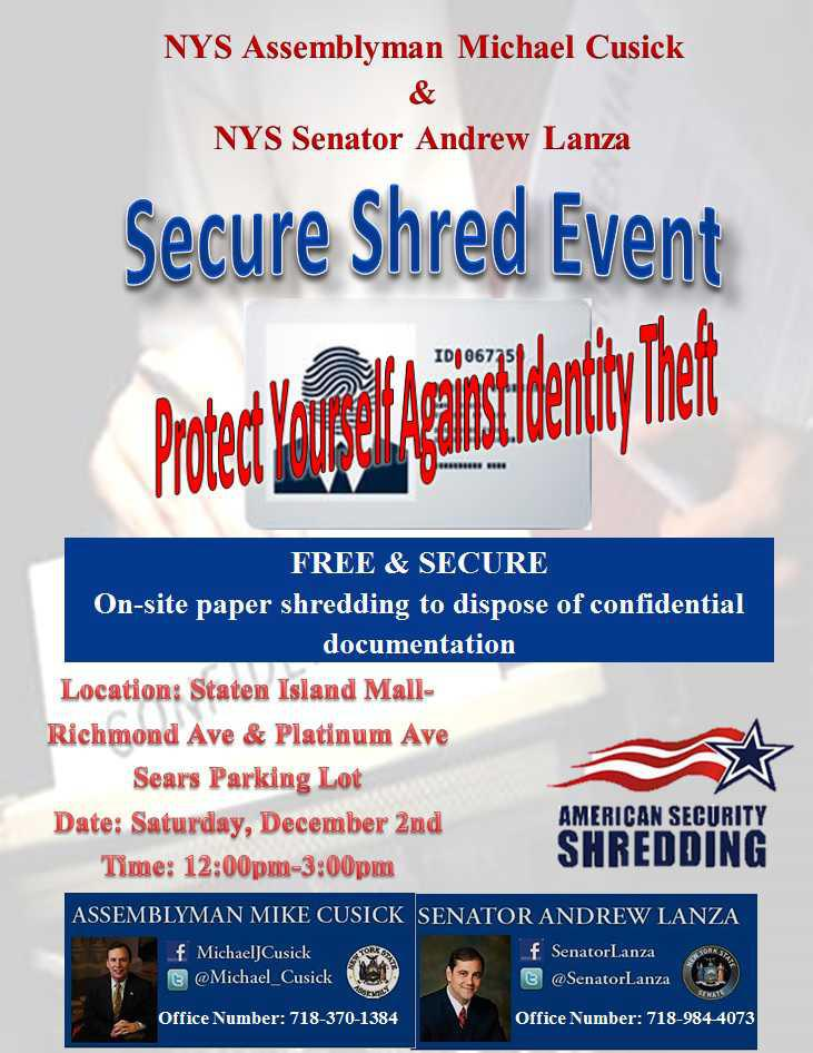 Cusick and Lanza to Host Secure Shred Event