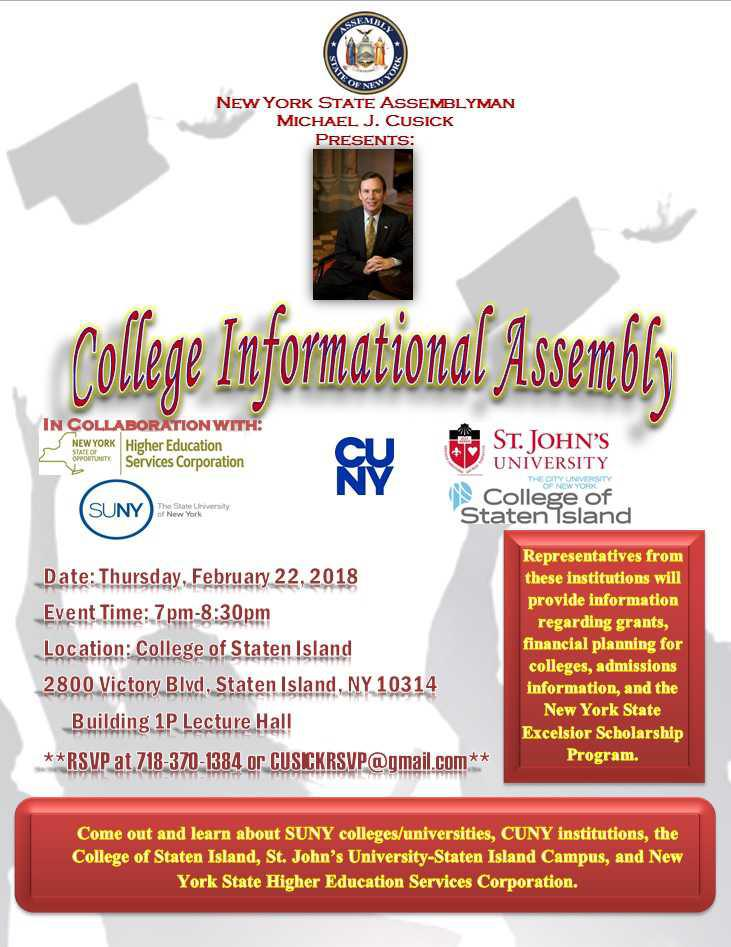 Assemblyman Michael J. Cusick to Host College Informational Assembly