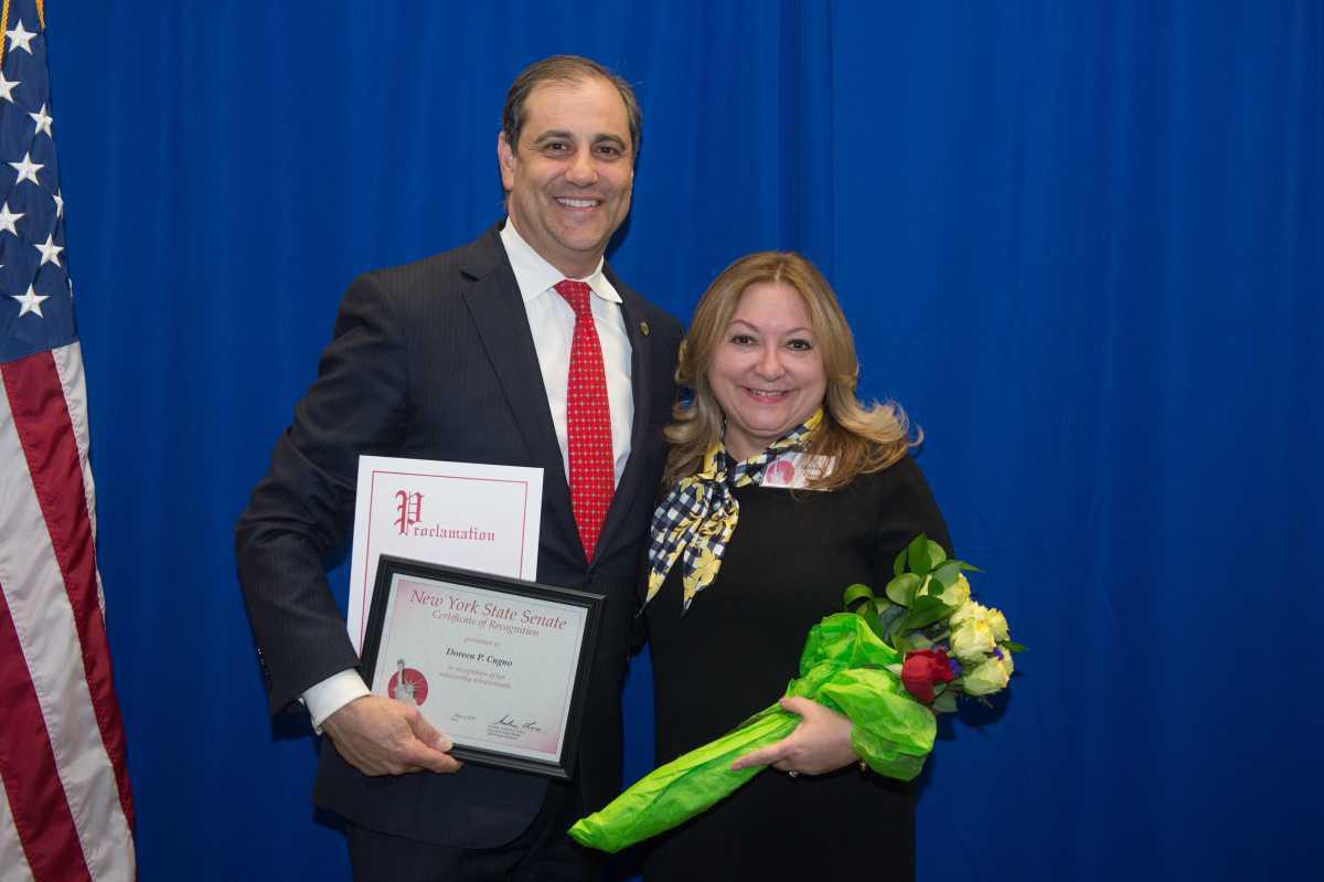 Doreen P. Cugno of the St. George Theatre, honored by Senator Lanza