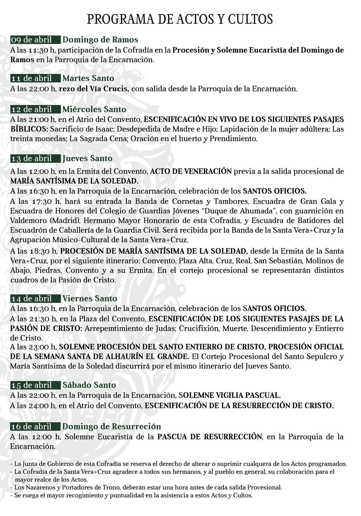 Programa de actos y cultos Semana Santa 2017