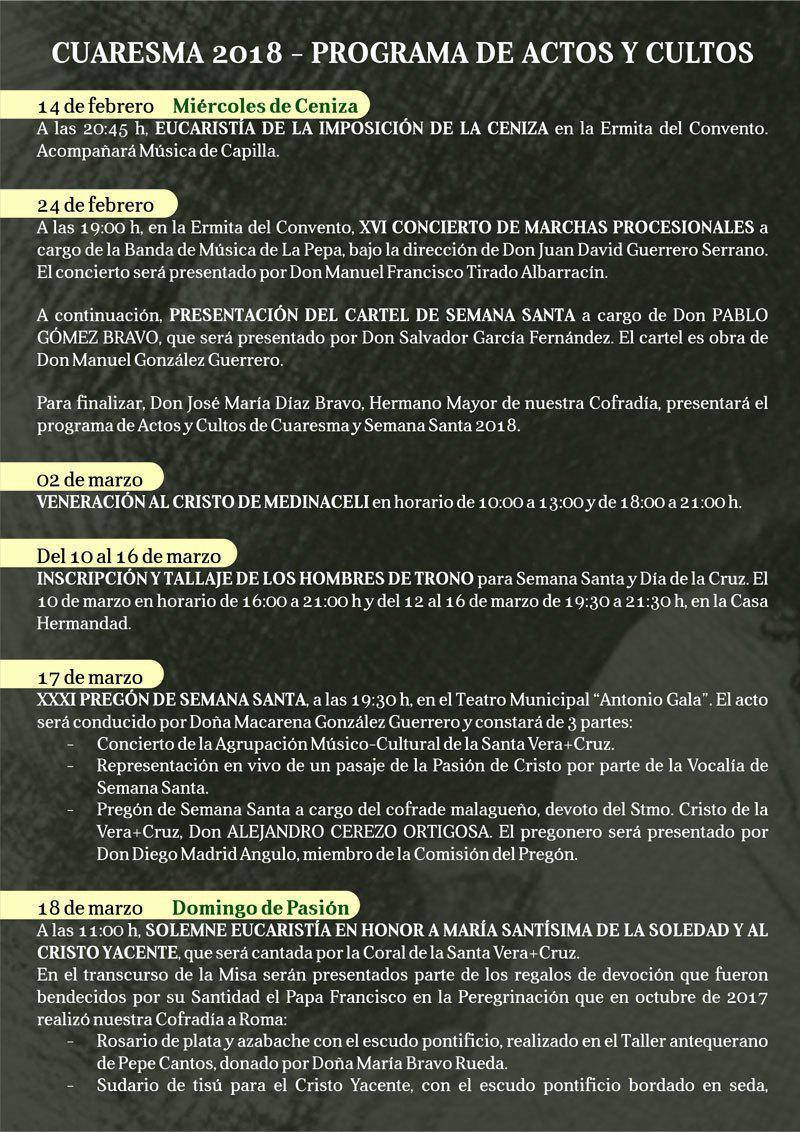 Programa de actos y cultos de Semana Santa 2018