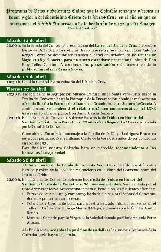 Programa de actos del Día de la Cruz 2018