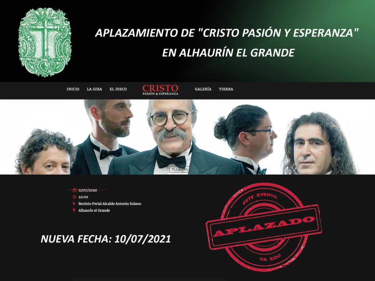 """APLAZAMIENTO DE """"CRISTO PASIÓN Y ESPERANZA"""" EN ALHAURÍN EL GRANDE"""