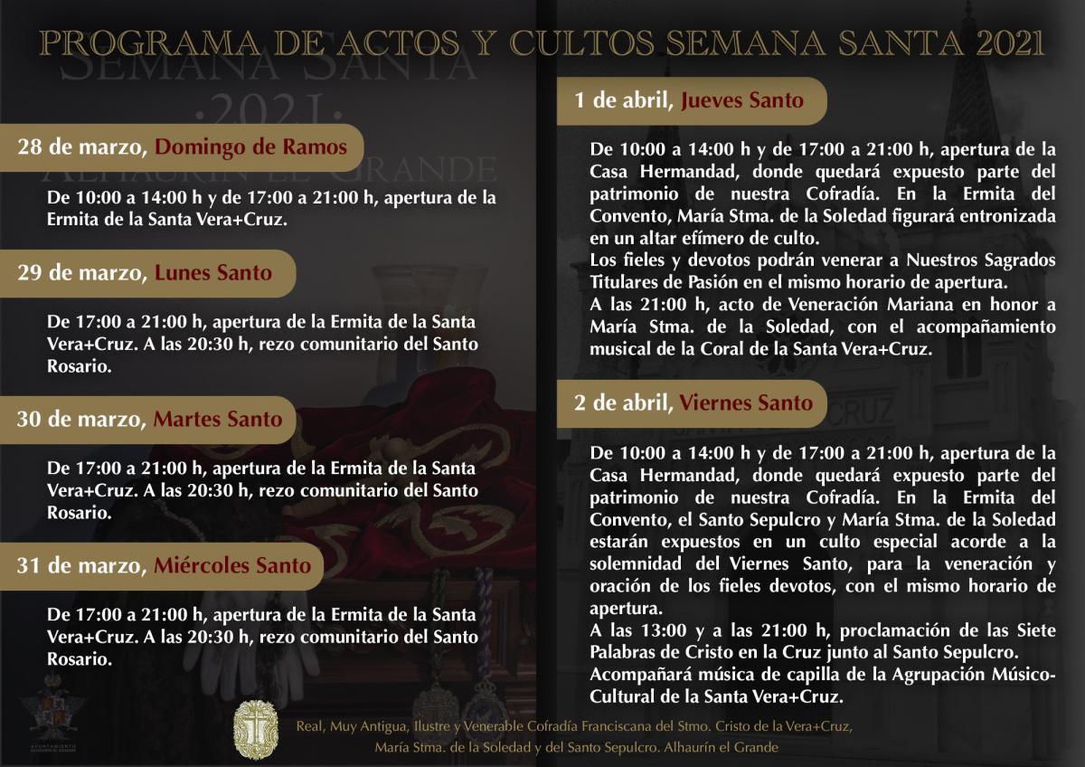 Programa de Actos y Cultos Semana Santa 2021