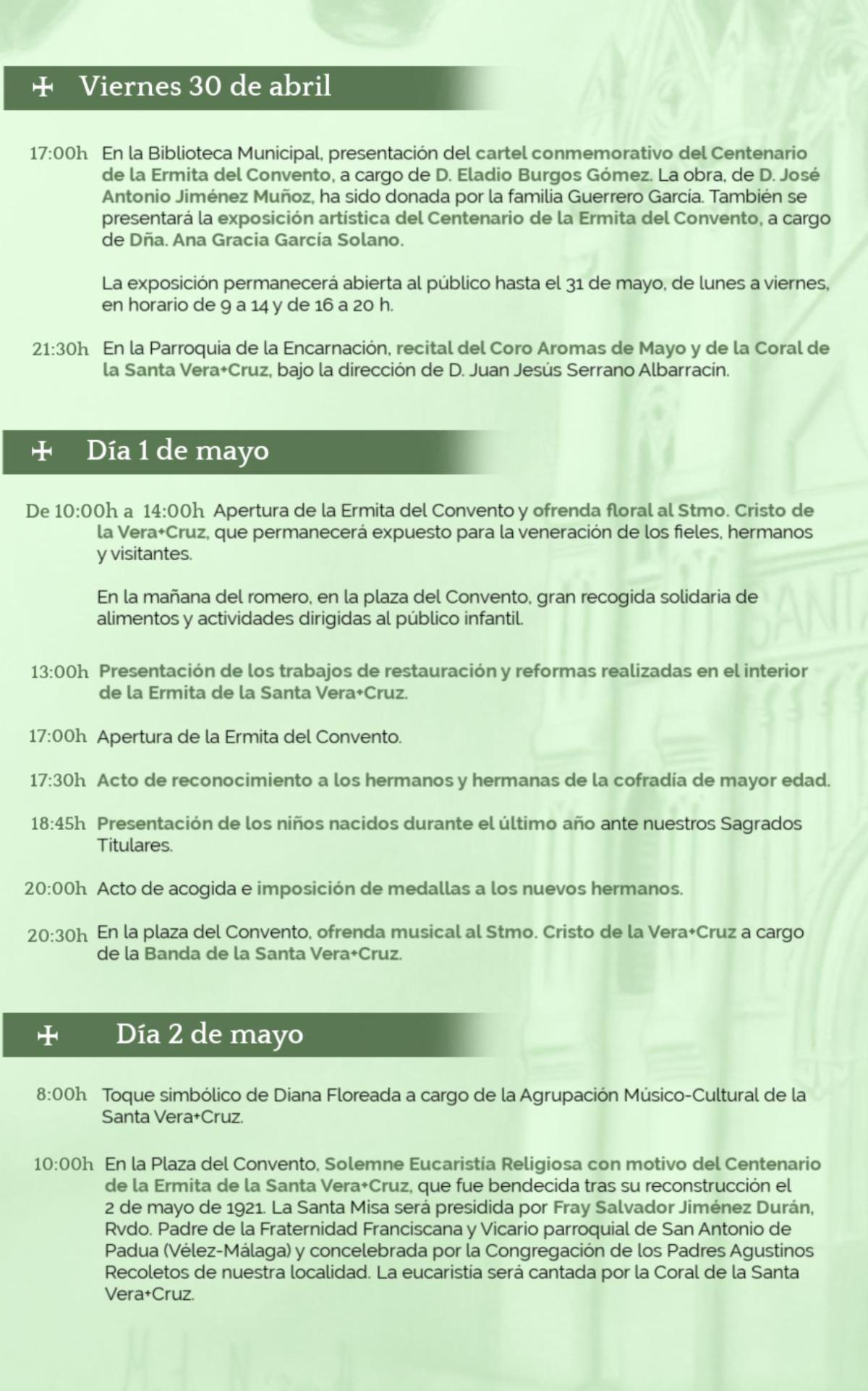 Programa de actos del Día de la Cruz 2021