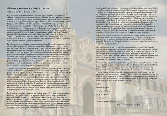 100 años de la restauración de la Ermita del Convento