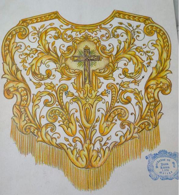 Diseño de pecherín para nuestra Señora de la Soledad