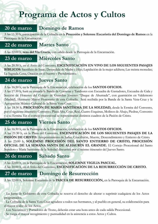 Programa de actos y cultos de Semana Santa 2016