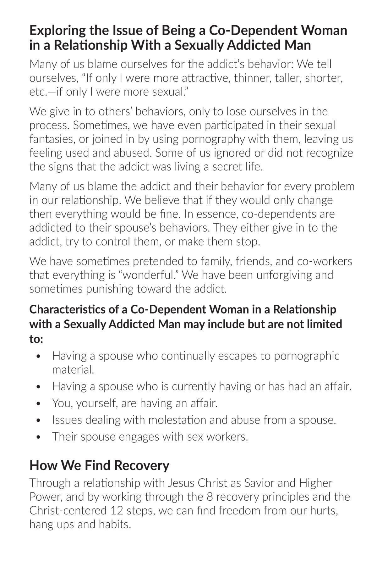 Co-Dependent Women in a Relationship with a Sexually Addicted Man