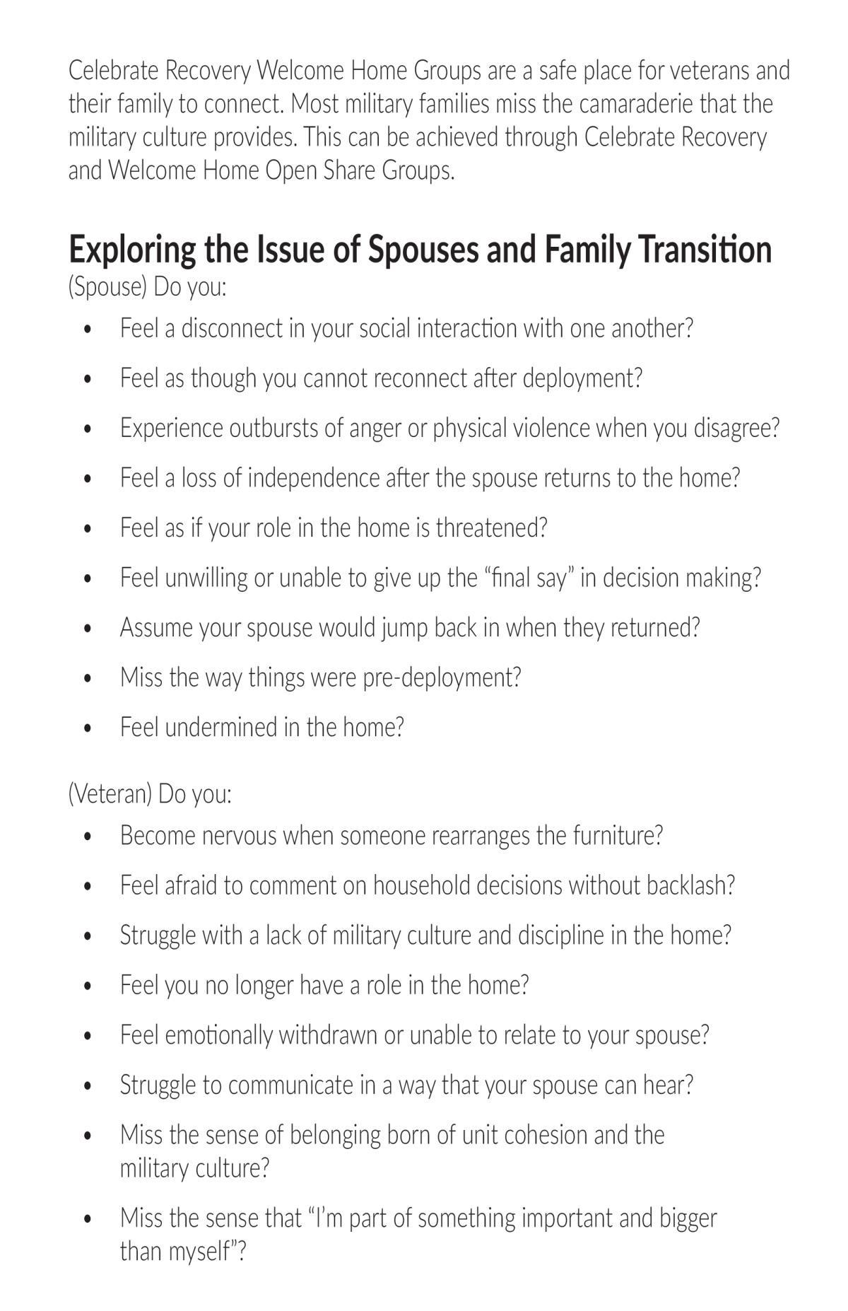 Welcome Home Veterans - Spouses and Family Transition