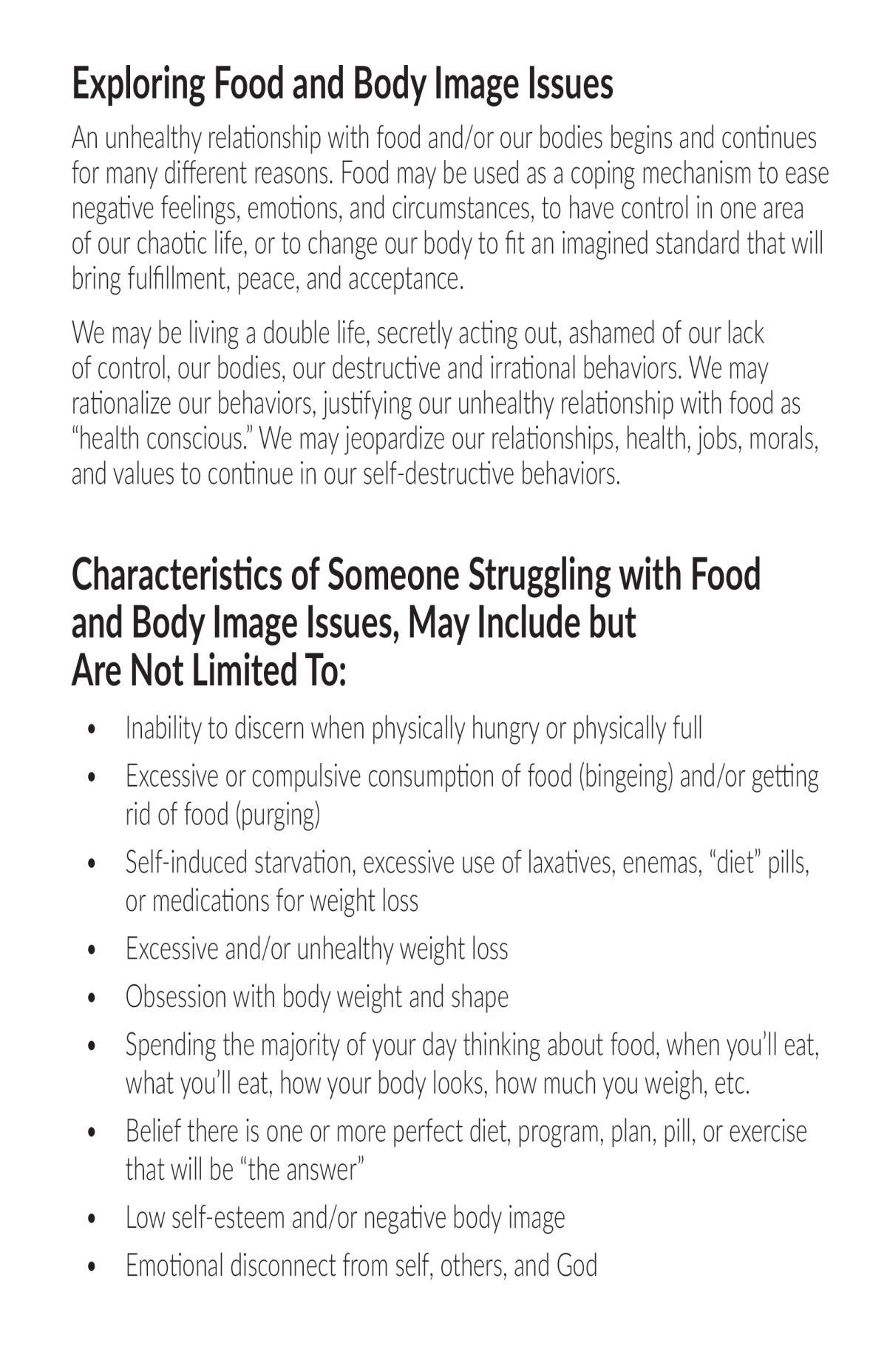 Food and Body Image Issues