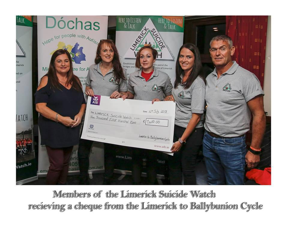 Charity Cycle 2018 Presentation for Limerick Suicide Watch and Dochas. (I Love Limerick).