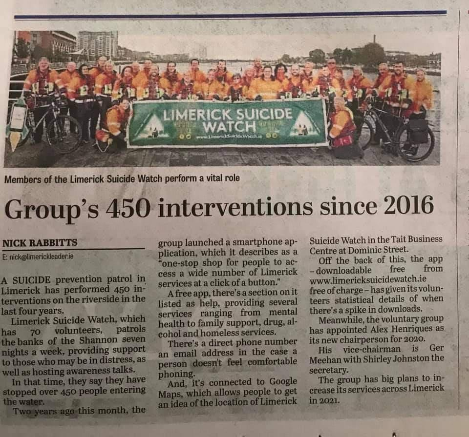 Groups 450 interventions since May 2016. Limerick leader.