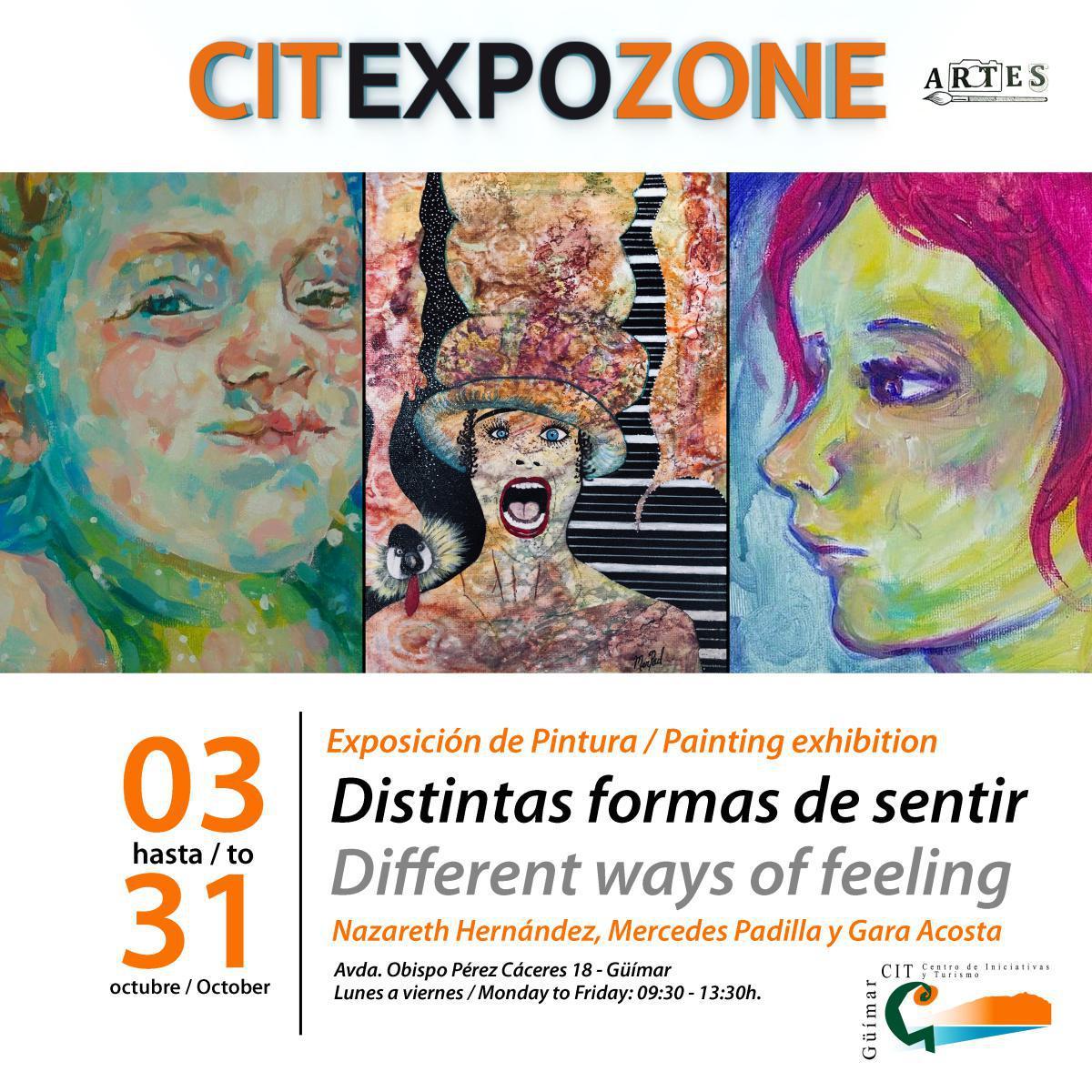 """El CIT de Güímar inaugura la exposición colectiva """"Diferentes formas de sentir"""" que estará abierta al público del 1 al 31 de octubre."""
